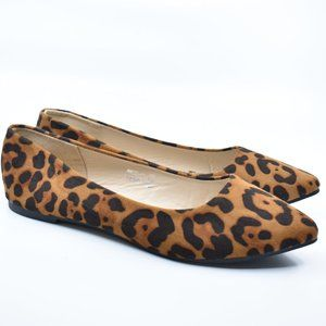 Leopard Faux Suede Pointy Pointed Toe Ballet Flats